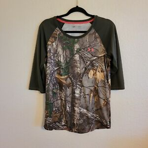 Under Armour Realtree Fitted Heat Gear Camo 3/4 Sleeve Shirt Women's Large Pink