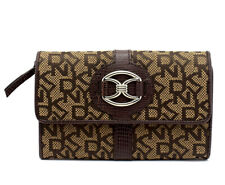 DKNY Medium Size Women Leather and Canvas Wallet Brown