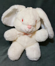 "Vintage 1988 Dan Dee Imports White Bunny Rabbit Pink Eyes 11"" Plush Stuffed EUC"