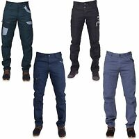 New ETO Mens Designer Regular Fit Tapered Chinos Jeans Pants Blue Black Coated