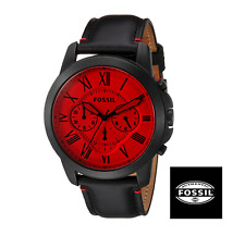 Fossil Men's Grant Chronograph Black Leather Red Face Collection Watch Fs5242