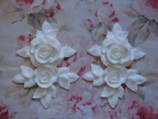 New! Shabby Chic XLG CARVED ROSE & LEAF SET DROPS Pediment Furniture Applique