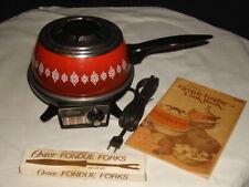 Oster Electric Fondue Set 4 Forks MODEL 681 Flame Red w/ Box VINTAGE