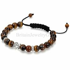 Adjustable Bracelet Buddha Head Fake Tiger Eye Stone Beaded Men Women Wristband