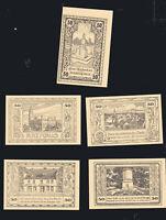 5x  Notgeld Serie 50 Pf Stadt CANTH Schlesien Rathaus Denkmal  Bilder top