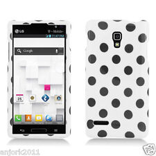 LG Optimus L9 T-Mobile P769 Snap-On Case Cover Accessory White Black Polka Dots