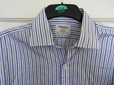 TM Lewin Shirt Size 16 White with Blue & Grey Stripe Double Cuff 100% Cotton