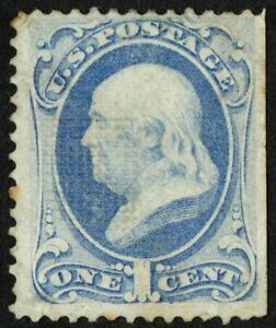 """US Sc# 134A *MINT NO GUM H* { SCARCE """"I"""" GRILL VARIETY } 1c BEN FRANKLIN OF 1870"""