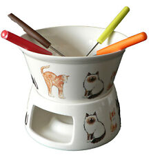 Fondue set with cats and kittens design, for 4 people