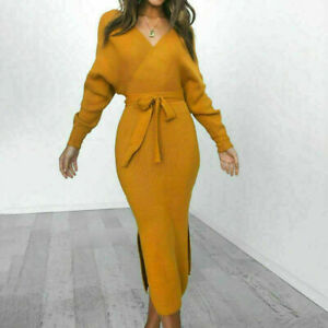 Jumper Dress Women Bodycon Casual Long Sleeve V Neck Ladies Autumn and Winter