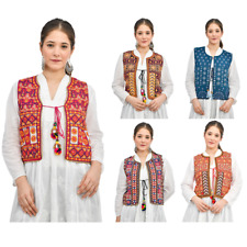 Women Casual Sleeveless Long Coat Waistcoat Vest Jacket Open Front Kutchi Koti