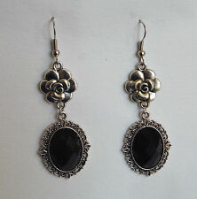 CAMELLIA FILIGREE VICTORIAN STYLE BLACK SILVER PLATED DROP EARRINGS CFE Hook
