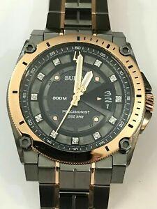 New BULOVA Precisionist Diamond Black Dial Men's Watch 98D149