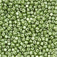 Minos® par Puca® 3mm Barrel Shaped Czech Glass Beads Pastel Olivine 9g (L102/4)