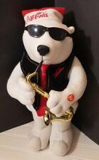 Vintage Coca Cola 1990's Christmas Dancing Animated Jazz Sax White Polar Bear