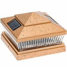 "Solar Square Outdoor 6""X6"" LED Solar Powered Path Light, ANTIQUE BRONZE w/ Base"