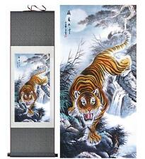 "5 tiger painting living room art tiger painting office art painting 12""x40"""
