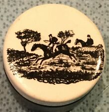 Fox Hunt Hunting  Porcelain Trinket Pill Box Container With Lid