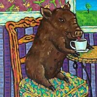 brown pig coffee picture animal art tile coaster  gift