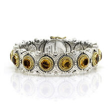 Konstantino Sterling Silver and 18K Yellow Gold Bracelet with Citrine