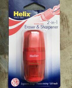 Helix 2 in 1 Pencil Sharpner & Eraser Sealed Pack, RED Colour✏️✏️✍️✏️✏️