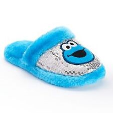 Sesame Street Cookie Monster Blue Plush Sequined Slippers Shoes Girls Size 11-12