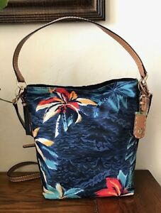 Tommy Hilfiger Women Julia Hawaiian Print Convertible Nylon Hobo NWT 108$+TAX