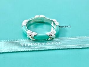 Tiffany & Co Sterling Silver Blue Enamel X Kiss Band Sz 5.25 Ring w/ Box  20820D