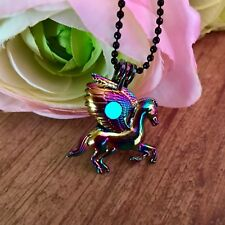Rainbow Chrome Winged Pegasus Locket with Blue Glow In The Dark Orb Materia