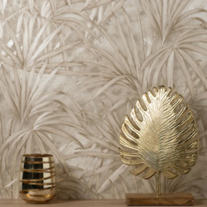 Selvaggia Cream and Gold Palm Leaf Wallpaper Luxury Vinyl C88759