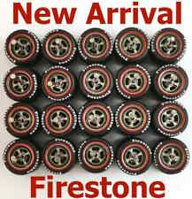 1/64 rubber tyre 4 spoke Gunmetal rim fit Hot Wheels diecast cars - 10 sets Z