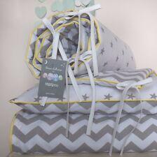 COTTON Cot Bed Duvet Cover Set & Bumper  Grey Stars Chevron bedding yellow