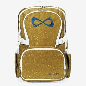 BRAND NEW - NFINITY GOLD SPARKLE BACKPACK WITH NAVY LOGO - CHEER GYMNASTICS