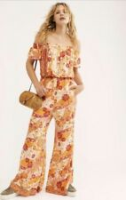 Free People Jumpsuit Floral Stretch Wide Flare Orange Red Off The Shoulder S NEW