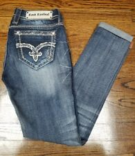 NEW Buckle* ROCK REVIVAL* July Cuffed Skinny Embellished Jeans* Sz 28* Low Rise