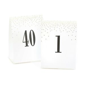 Gold Dot White Tent Table Numbers Cards Wedding Party Reception 1-40 MW21878