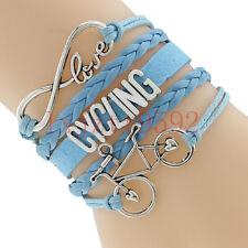 Infinity Love Cycling Bracelet With Bike Charm Leather Bracelet-Bicycle Sports#4