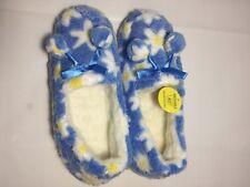Ladies Brand New Fur Blue Flower Slippers UK Size 7