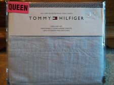 Tommy Hilfiger Lt Blue Thin Striped Queen Bed Sheet Set ~New