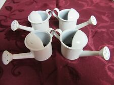 White Metal Watering Can Napkin Rings Holders Tableware Picnic Set of 4