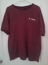 NEW T-MOBILE BURGUNDY MAUVE WITH WHITE LOGO SHORT SLEEVE T-SHIRT X LARGE
