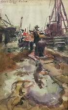 1931 PAINTING Watercolor ~ JAMES SANFORD HULME ~ Signed DOCKSIDE SHIPPING
