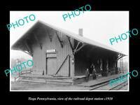 OLD POSTCARD SIZE PHOTO OF TIOGA PENNSYLVANIA THE RAILROAD DEPOT c1910