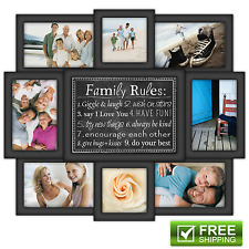 8-Piece Photo Picture Family Rules Collage Frame Black Gallery Home Decor Gift