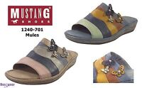 Mustang 1240-701 Ladies Layered Multi Coloured Mule Clog Sandals