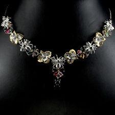 Collier Biene Opal schwarz Turmalin 925 Silber 585 vergoldet