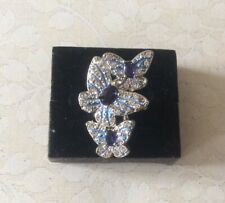 Blue Crystal Butterfly Ring Size O