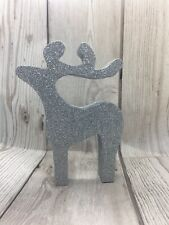 Silver Reindeer Christmas Decorations Glittered