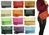Womens Foldover Italian Suede Crocodile Leather Clutch Bag with Shoulder Strap