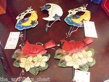 """Metal decorated hangers (5), around 6"""", birds, cow & moon faces,with tags[4met]"""